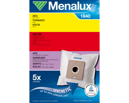 Мешки Menalux 1840, Синтетические, для пылесоса AEG, Samsung...