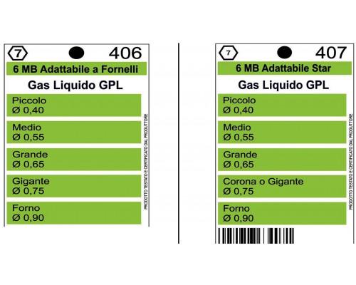 Жиклеры комплект (5шт.) ZANUSSI 6MB-GPL (0.4, 0.55, 0.65, 0....