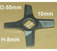 Нож для мясорубок Zelmer №8, двухсторонний, оригинал, замена A632543, A863109, MGR105BO UN755472